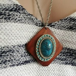 Jewelry - Blue Stone Wood Pendant Necklace